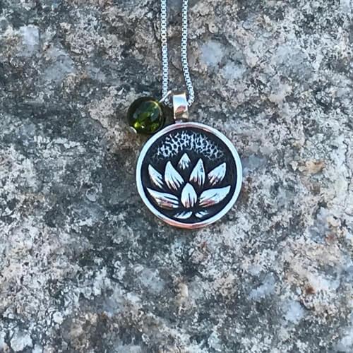 Sacred Sound Pendant Lotus Peridot - DharmaMalas.com
